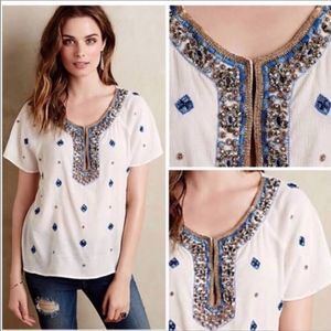 Anthropologie beaded embroidered boho top medium